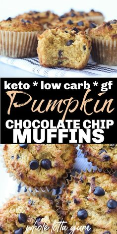 Low Carb Keto Pumpkin Muffins With Chocolate Chips The Best Low Carb Keto Pumpkin Muffins With Chocolate Chips And Cream Cheese Mixed In These Make A Fabulous Gluten Free And Keto Holiday Dessert Breakfast Or Snack For Fall Like Halloween Or Thanksgiving Breakfast Dessert, Low Carb Breakfast, Breakfast Recipes, Dessert Recipes, Breakfast Ideas, Dinner Recipes, Dessert Bars, Breakfast Gravy, Dessert Platter