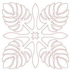 Free Hawaiian Quilt Block Patterns   Hawaiian Quilt Blocks 2 (4x4)   Embroidery Delight   Your source for ...