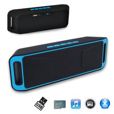 Indigi Bluetooth Portable Wireless Speaker For iPhone 7 TF USB FM Radio Built-in Mic. Support All Bluetooth enabled Devices such as iPhone and Android Phones | AUX from computers, laptop and other audio products | Micro SD Memory Card or USB Drive | FM Radio | Phone Call Hands-free Speakerphone. Fashion upscale appearance, the popular sense lines. Two 4 ohm 3W speaker with the full-range speakers, and is equipped with powerful bass diaphragm, independent of the speaker cavity, the perfect...