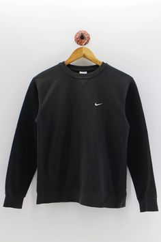 f6a129e7fad3 NIKE SUPER Black Sweatshirt Swoosh Small Logo Vintage Nike Pullover Jumper  1990 s Women Youth Sweater Size M