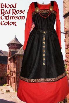 Medieval Costume Norse Viking SCA Garb 2pc BlackOverRed Linen Apron Apron Ctn Kirtle L XL
