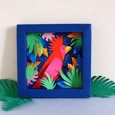 Make your own tropical paper decoration 3d Paper Crafts, Paper Toys, Diy Paper, Diy And Crafts, Pop Up, Make Your Own, Make It Yourself, Paper Artwork, Paper Frames