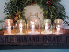 Candles + Ball Jars + Fake Snow = Pretty Winter Decor
