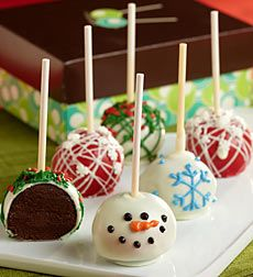 Holiday Truffle Cake Pops. Give the gift of scrumptious gourmet taste with huge cute factor with these Holiday Truffle Cake Pops! These 6 rich, dark and moist chocolate truffle cakes on a stick are so incredibly decadent, it's no surprise that celebrities love'em too. These trend-forward treats are lovingly hand-made by a small artisan bakery that's been featured on The Today Show and Rachel Ray! The luscious truffle cake centers are covered with a deliciously crisp, confectionary exterior…