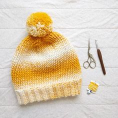 This ☀️✨ beanie ended up being a bit bigger and slouchier than I intended, but I think I like it! I don't have a pattern for it yet, as there's a few issues I need to figure out - like why is this hat so darn big?!  I'll be re-making it in charcoal for my husband using a different yarn too, since he's not really into this ombre thing. As for names, I'm thinking Pebble Beach Beanie, what do you think? Any other suggestions?