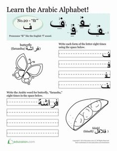 Third Grade Arabic Foreign Language Worksheets: Writing in Arabic: fā'