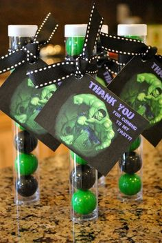 we used for my son's bday party. 1 inch gum balls in plastic tubes. Tubes are from etsy online. Gum balls were bought online too. Avenger Party, Hulk Birthday Parties, Superhero Birthday Party, 5th Birthday, Birthday Ideas, Incredible Hulk Party, Avengers Birthday, Partys, First Birthdays