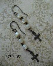 Artisan Mother of Pearl Cross Faith Earrings