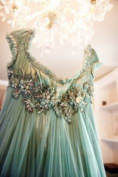 Beautiful mint green dress, with lovely bejeweled details