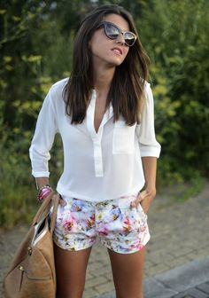 floral shorts and white top