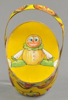 JACK-O-LANTERN FACED BASKET CANDY CONTAINER : Lot 2114