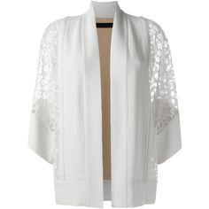 Elie Saab Lace Sleeve Kimono (2,790 CAD) ❤ liked on Polyvore featuring intimates, robes, white, kimono robe, white kimono, white robe i elie saab