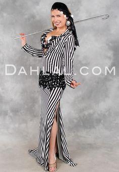 FLOWERING SAIDI in Black and White, Egyptian Belly Dance Dress by Eman Zaki, Available for Custom Order - Dahlal Internationale Store