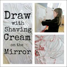 Draw with shaving cream on the mirror :: a fun sensory art experience!