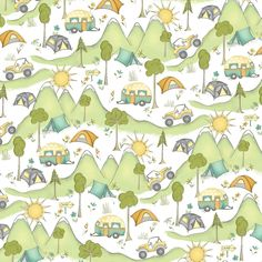Camping Fabric / Road Trippin / Camper and Tent Fabric / Camping Fabric / Windham Fabrics Digitally Printed Fabric Yardage Camping Fabric, Tent Fabric, Novelty Fabric, Windham Fabrics, Block Of The Month, Cotton Quilting Fabric, Road Trippin, Quilt Top, Mountain View