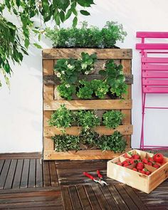 DIY vertical gardening burlap strawberries herbs wooden pallet