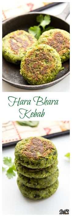 Kebabs made with Spinach, Green Peas and Potato. Full of greens, delicious & #vegan!