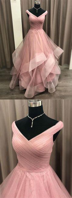 Gorgeous A Line Off the Shoulder Pink Long Prom Dresses with Ruffles - Kleider - Vestidos de Novia Prom Dresses Long Pink, Pink Gowns, Day Dresses, Homecoming Dresses, Evening Dresses, Winter Dresses, Pink Dress, Colorful Prom Dresses, Winter Maxi
