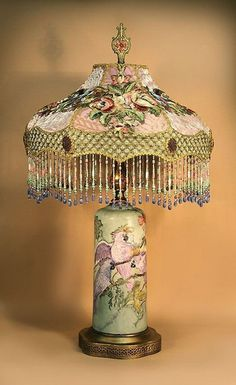 Victorian Lamp with Hand Painted Base and Silk Lampshade with Beaded Fringe Victorian Lighting, Victorian Lamps, Antique Lighting, Victorian Era, Chandeliers, Chandelier Lamp, Ceiling Lamps, Pendant Lamps, Pendant Lights