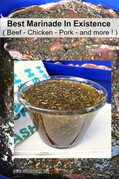 Simply the BEST marinade ! Perfect for Beef, Chicken, Pork and more and it takes only 5 minutes to make a batch Simply the BEST marinade ! Perfect for Beef, Chicken, Pork and more and it takes only 5 minutes to make a batch Steak Marinade Recipes, Marinade Sauce, Sauce Recipes, Pork Recipes, Cooking Recipes, Best Marinade For Steak, Marinade For Pork Chops, Beef Kabob Marinade, Best Chicken Marinade