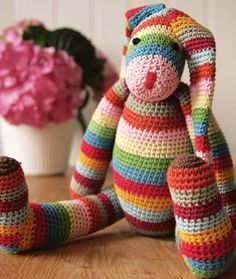 stripy crocheted bunny by lindenfrench | notonthehighstreet.com