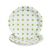 "Lime Green Polka Dot 7"" Paper Dessert Plate | 8ct"