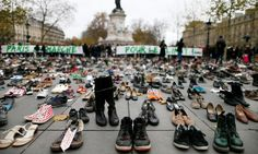 Over 10,000 pairs of shoes on the Place de la Republique replace marchers who were set to take part in a climate cancelled protest as activists take to the streets around the globe