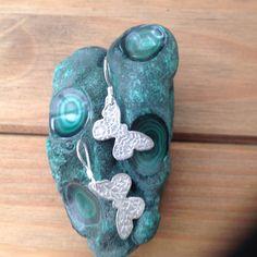 999 Fine silver patterned butterfly earrings on by HolisticSandT