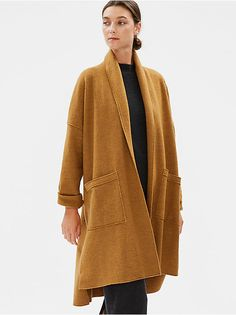 Boiled Wool Shawl Collar Jacket in Responsible Wool Cashmere Wrap, Cashmere Cardigan, Wool Cardigan, Boiled Wool Jacket, Casual Outfits, Fashion Outfits, Women's Fashion, How To Stretch Boots, Jackets For Women