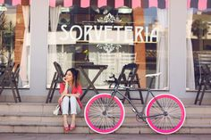Cute outfit wearing pink jacket and Gap denim. and this pink bike <3