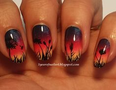365 days of nail art : Sunset nails Nail Art Designs, Nail Designs Spring, Nail Polish Designs, Pastel Nails, Gradient Nails, Toe Nails, Nail Nail, Galeries D'art D'ongles, Silhouette Nails