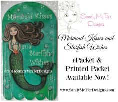 Mermaid Kisses and Starfish Wishes ©2016Sandy McTier Design - ePacket available here - www.sandymctierdesigns.com  Mermaid stencil available at www.creativeartslifestyle.com Painted with DecoArt Media products on a Cupboard Distributing Surface #decoart #decoartprojects #sandymctierdesigns #cdwood #cupboarddistributing