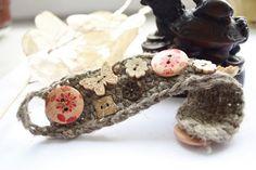 Crochet bracelet cuff-Boho linen bracelet-Jute by YarinkaHobbie