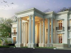 Showcase Model Luxury Homes - Rumah Klasik Classic Architecture, Architecture Design, House Front, My House, Classic House Design, Modern Mansion, Plantation Homes, Facade House, Exterior Design