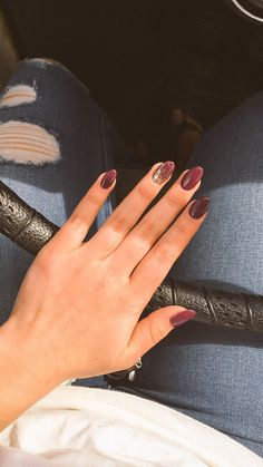 Maroon almond nails