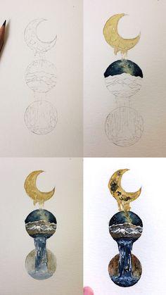 (@rosies.sketchbook) Process photos of my mini watercolor doodle. #watercolor #watercolour #painting #sketch #art #artist #artwork #draw #drawing #doodle #watercolorist #illustration #illustrate
