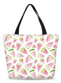 Women's Pink Watermelon Print Beach Tote