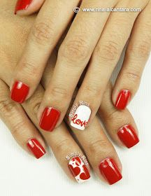 "Love, hearts, accent nail art- ""I wrote down ""love"" on my na.- Love, hearts, accent nail art- ""I wrote down ""love"" on my nails ""…-Rina - Fancy Nails, Love Nails, Red Nails, Pretty Nails, Nail Art Designs, Valentine Nail Art, Manicure E Pedicure, Pedicures, Super Nails"