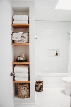 One Room Challenge Reveal One Room Challenge Reveal Gray Oak Studio Gray Oak Stu. Open Bathroom, Upstairs Bathrooms, Family Bathroom, Laundry In Bathroom, Bathroom Shelves, Bathroom Canvas, Bathroom Closet, Bathroom Mirrors, Master Bathrooms