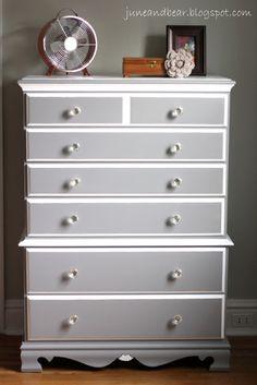 DIY dresser redo... love the gray & white