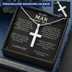 To My Man Necklace, Cross Necklace Message Card, Husband Necklace - Standard Box