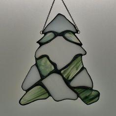 Stained Glass Snowy Pine Suncatcher by SingularArt on Etsy, $30.00