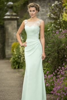 Illusion Scoop Neck Lace Appliqued Sheath Mint Green Chiffon Long Bridesmaid Dress _2