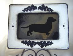 Dachshund Dog Antiqued Mirror in White Shabby Chic by BusterJustis