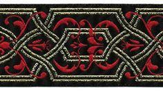 5 YARDS 1 1/2 inch wide Red Gold Black by CamelotsSupplyShop