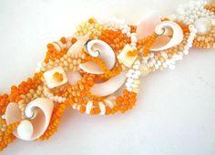 Beaded bracelet Seed bead bracelet Orange bracelet by ibics