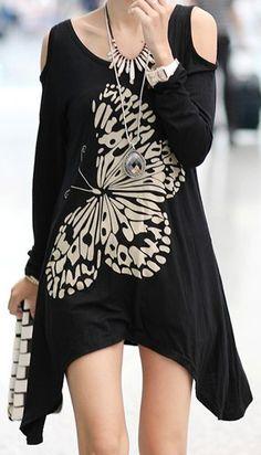 Stylish Scoop Neck Long Sleeve Butterfly Pattern Asymmetrical T-Shirt