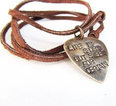 Mens Leather Necklace with Dave Matthews Band Quote