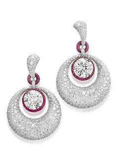 de GRISOGONO white diamond and pink sapphire earrings.