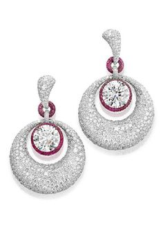 de GRISOGONO white diamond and pink sapphire earrings.
